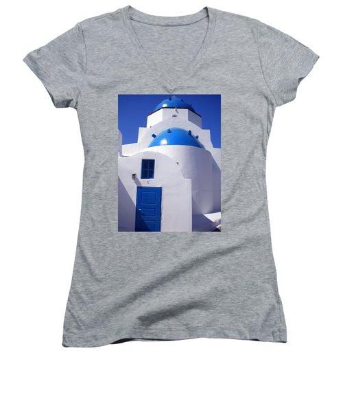 Women's V-Neck T-Shirt (Junior Cut) featuring the photograph Santorini Church  by Colette V Hera  Guggenheim