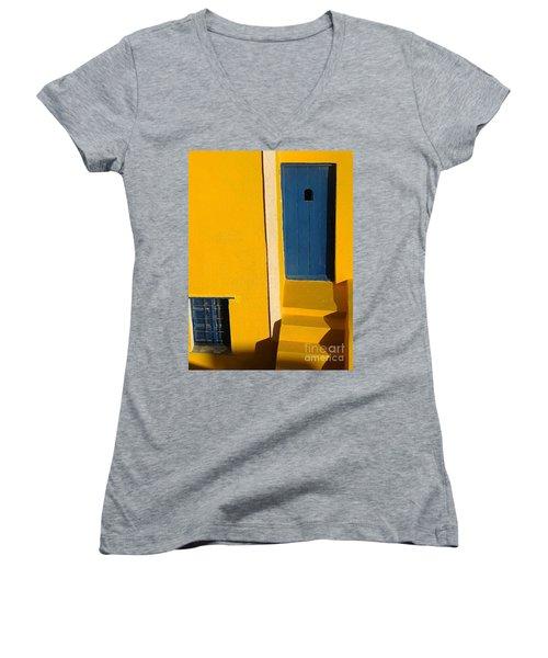 Santorini Doorway Women's V-Neck T-Shirt (Junior Cut) by Suzanne Oesterling