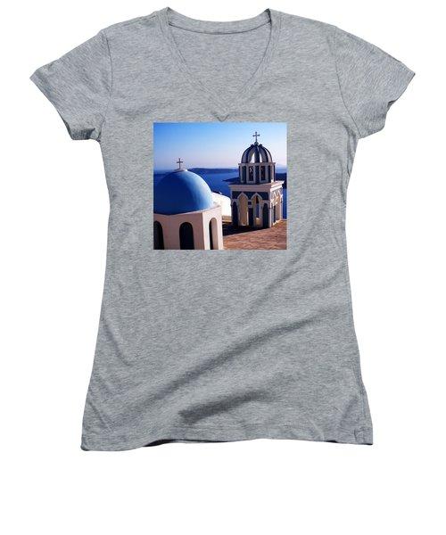 Women's V-Neck T-Shirt (Junior Cut) featuring the photograph Santorini  Island Church Greece  by Colette V Hera  Guggenheim