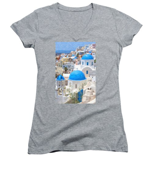 Santorini Oil Painting Women's V-Neck T-Shirt (Junior Cut) by Antony McAulay