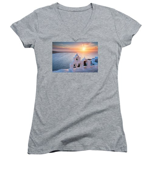 Santorini Sunset Women's V-Neck