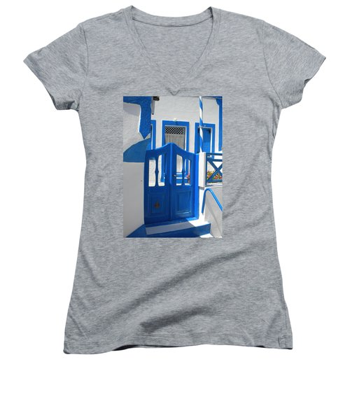 Women's V-Neck T-Shirt (Junior Cut) featuring the photograph Santorini Thirasia Island  by Colette V Hera  Guggenheim