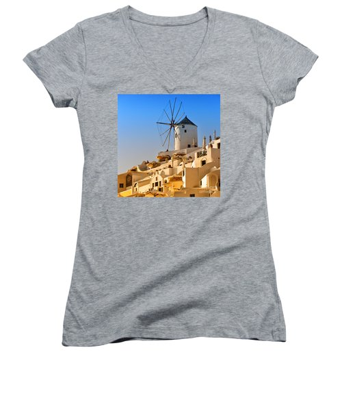 Santorini Windmill 05 Women's V-Neck T-Shirt