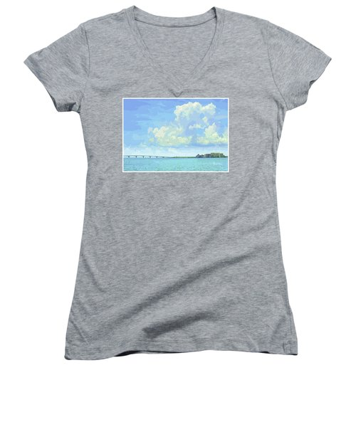 Sarasota Skyline From Sarasota Bay Women's V-Neck (Athletic Fit)