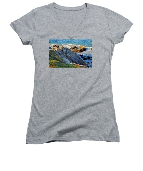 Sarcophagus Formation On Seaside Rocks Women's V-Neck T-Shirt (Junior Cut)
