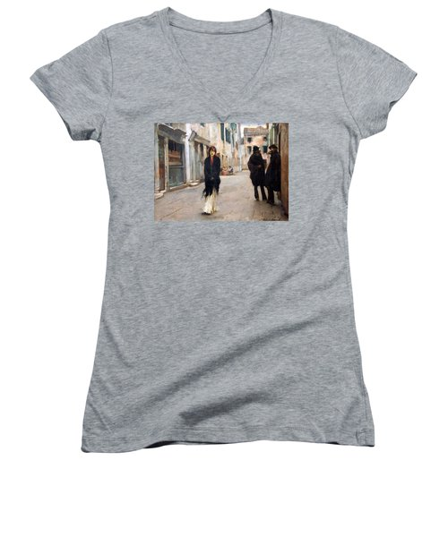 Sargent's Street In Venice Women's V-Neck T-Shirt