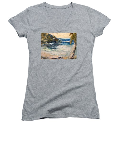 Women's V-Neck T-Shirt (Junior Cut) featuring the painting Saturday Afternoon  by Alan Lakin