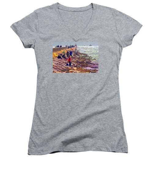 Women's V-Neck T-Shirt (Junior Cut) featuring the photograph Saturday Morning On The Surfside Jetty by Gary Holmes