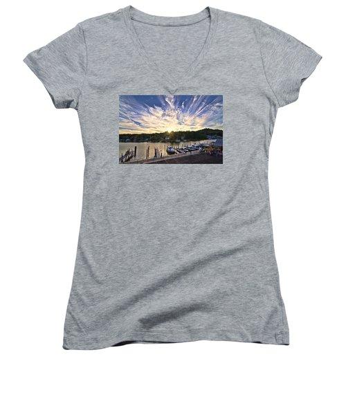 Women's V-Neck T-Shirt (Junior Cut) featuring the photograph Saugatauk Sunset by John Hansen