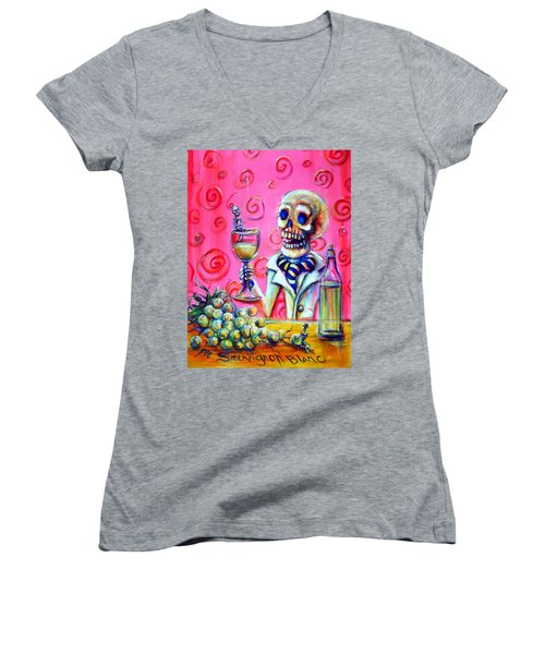 Women's V-Neck T-Shirt (Junior Cut) featuring the painting Mi Sauvignon Blanc by Heather Calderon