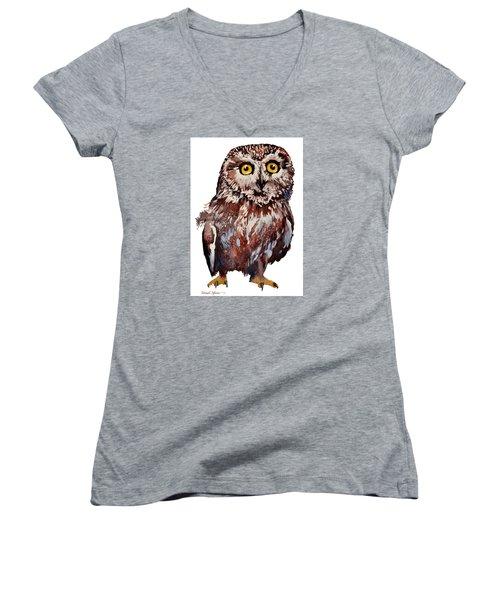 Da148 Saw Whet Owl Daniel Adams Women's V-Neck