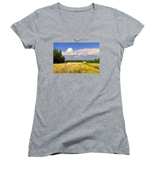 Women's V-Neck T-Shirt (Junior Cut) featuring the photograph Sawmill Creek Road by Cathy Mahnke