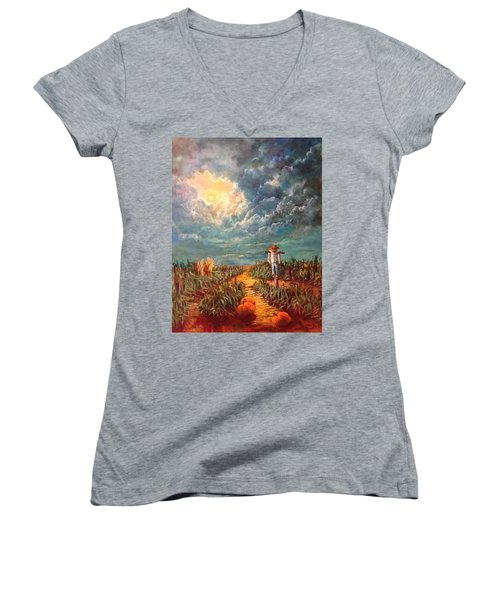 Scarecrow, Moon, Pumpkins And Mystery Women's V-Neck