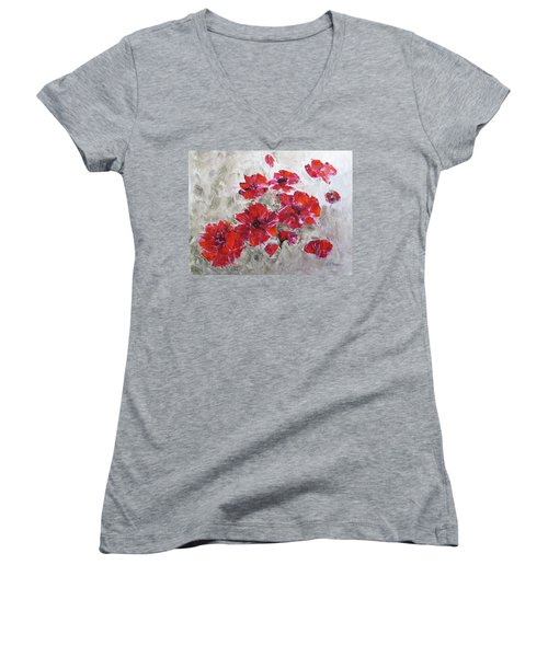 Scarlet Poppies Women's V-Neck T-Shirt
