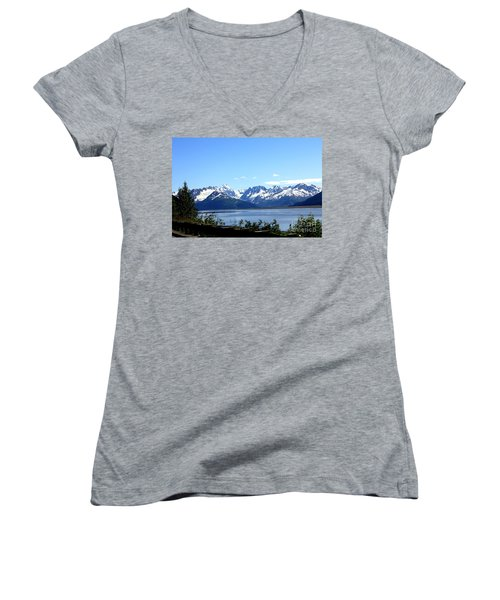 Women's V-Neck T-Shirt (Junior Cut) featuring the photograph Scenic Byway In Alaska by Kathy  White
