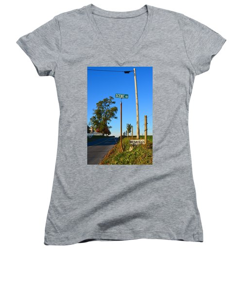 Scenic Road With Brown Eggs 3rd Lane Women's V-Neck