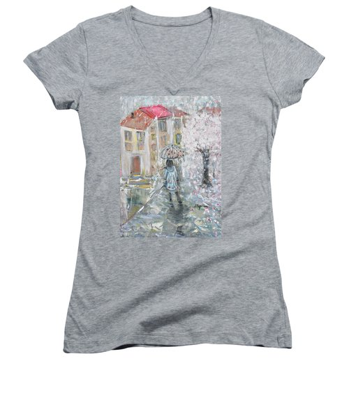 Women's V-Neck T-Shirt (Junior Cut) featuring the painting Scent Of Spring by Evelina Popilian