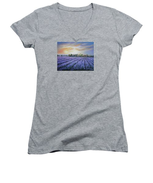 Women's V-Neck T-Shirt (Junior Cut) featuring the painting Scented Field by Vesna Martinjak