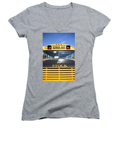 School Bus Women's V-Neck T-Shirt (Junior Cut) by Valentino Visentini
