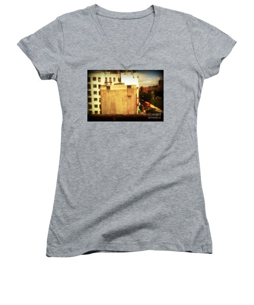 Women's V-Neck T-Shirt (Junior Cut) featuring the photograph School Bus With White Building by Miriam Danar