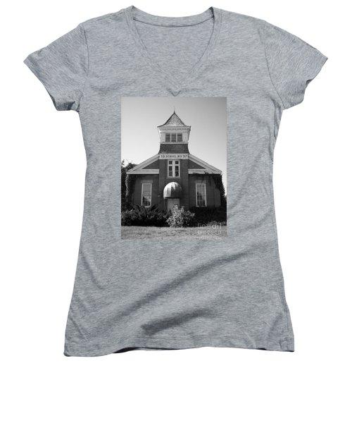 Women's V-Neck T-Shirt (Junior Cut) featuring the photograph School House by Michael Krek