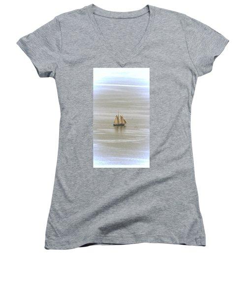 Schooner 1 Women's V-Neck T-Shirt (Junior Cut) by Joe Faherty