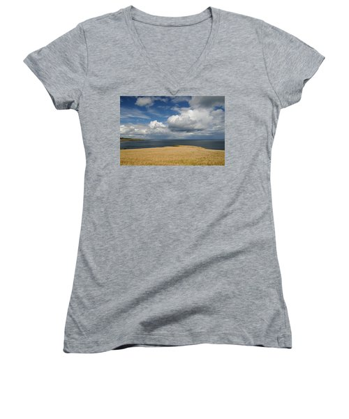 Scottish Coastal Wheatfield Women's V-Neck T-Shirt (Junior Cut) by Jeremy Voisey