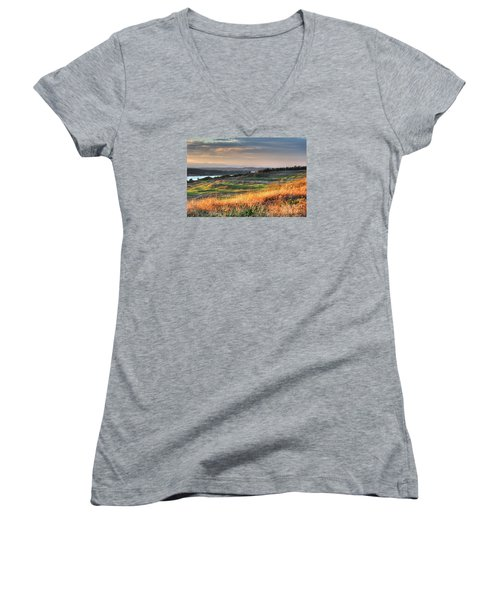 Women's V-Neck T-Shirt (Junior Cut) featuring the photograph Scottish Style Links In September - Chambers Bay Golf Course by Chris Anderson