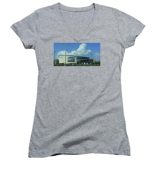 Scottrade Center Home Of The St Louis Blues Women's V-Neck T-Shirt (Junior Cut) by Greg Kluempers