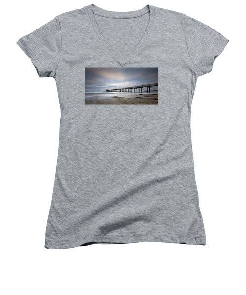 Scripps Pier Wide -lrg Print Women's V-Neck (Athletic Fit)