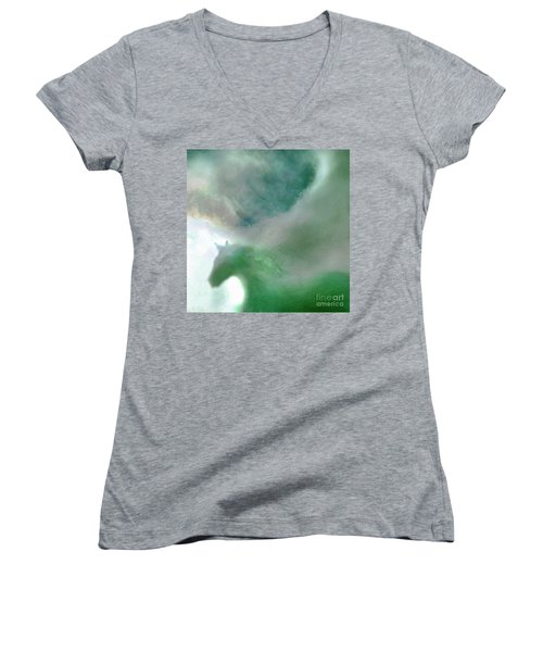 Women's V-Neck T-Shirt (Junior Cut) featuring the photograph Sea Glass Storm by Michael Rock