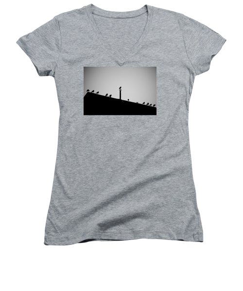 Sea Gulls In Silhouette Women's V-Neck T-Shirt