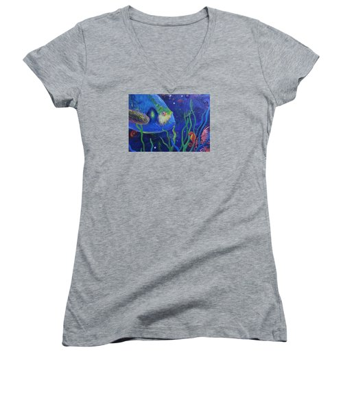 Sea Horse And Blue Fish Women's V-Neck T-Shirt (Junior Cut) by Anne Marie Brown