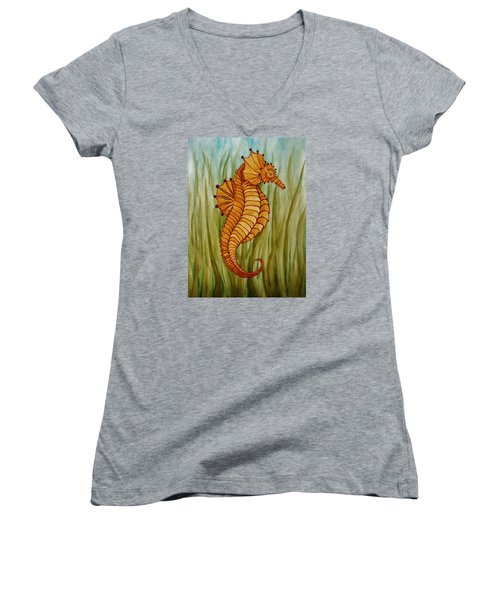 Women's V-Neck T-Shirt (Junior Cut) featuring the painting Sea Horse by Katherine Young-Beck