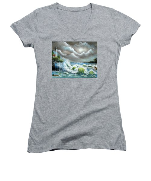 Women's V-Neck T-Shirt (Junior Cut) featuring the painting Sea Of Smiling Faces by Patrice Torrillo
