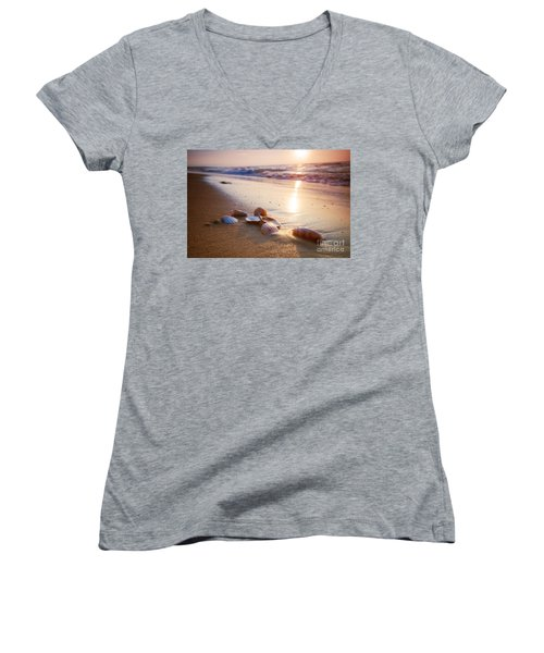 Sea Shells On Sand Women's V-Neck (Athletic Fit)