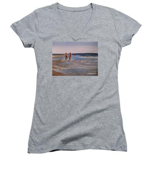 Sea Splashing On The Beach Women's V-Neck