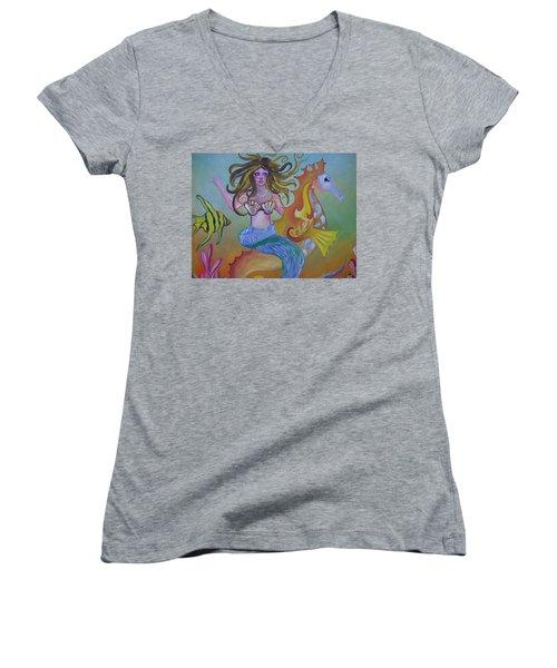 Sea Taxi Women's V-Neck T-Shirt (Junior Cut)