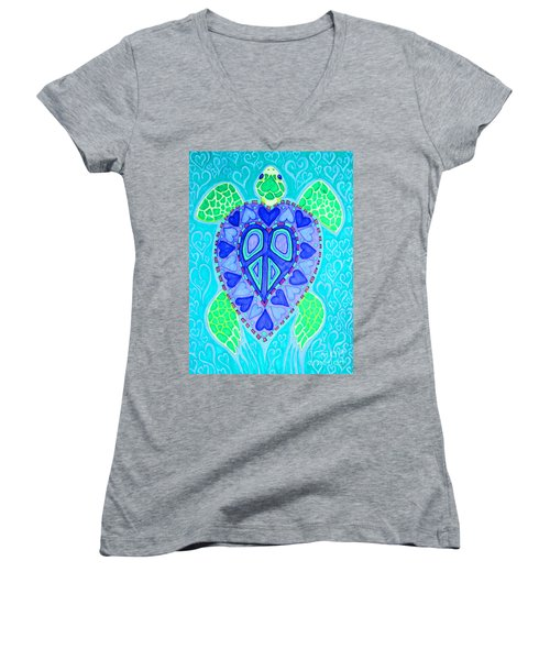 Sea Turtle Swim Women's V-Neck T-Shirt (Junior Cut) by Nick Gustafson