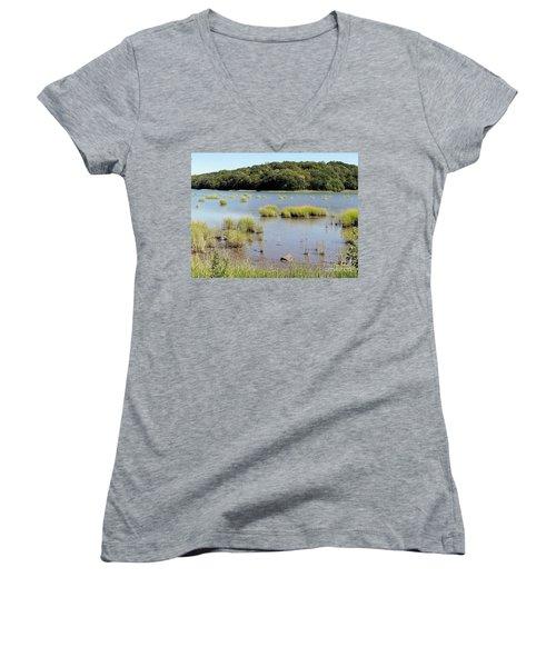 Women's V-Neck T-Shirt (Junior Cut) featuring the photograph Seagrass by Ed Weidman