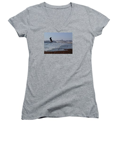 Women's V-Neck T-Shirt (Junior Cut) featuring the photograph Seagull by Robert Nickologianis