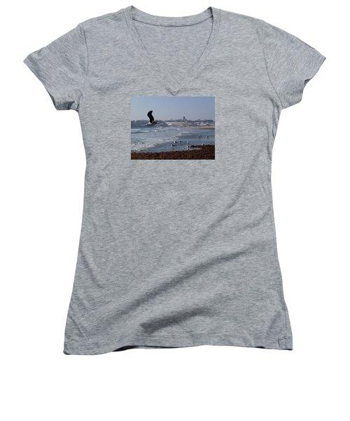 Seagull Women's V-Neck T-Shirt (Junior Cut) by Robert Nickologianis