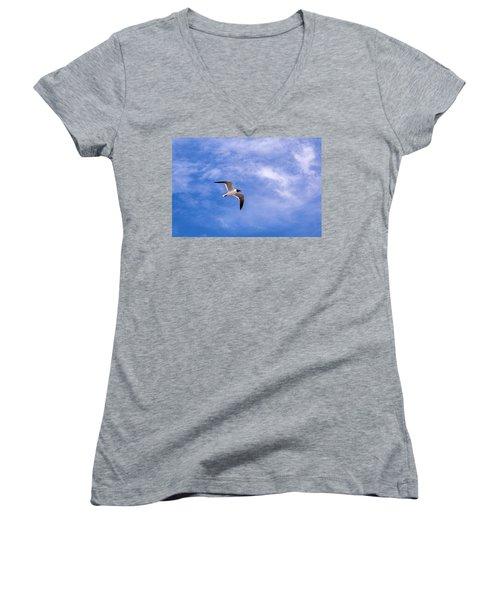 Women's V-Neck T-Shirt (Junior Cut) featuring the photograph Seagull by Sennie Pierson