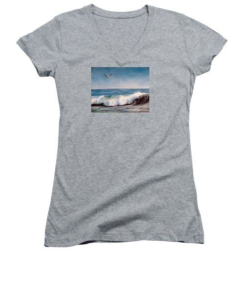 Women's V-Neck T-Shirt (Junior Cut) featuring the painting Seagull With Wave  by Lee Piper