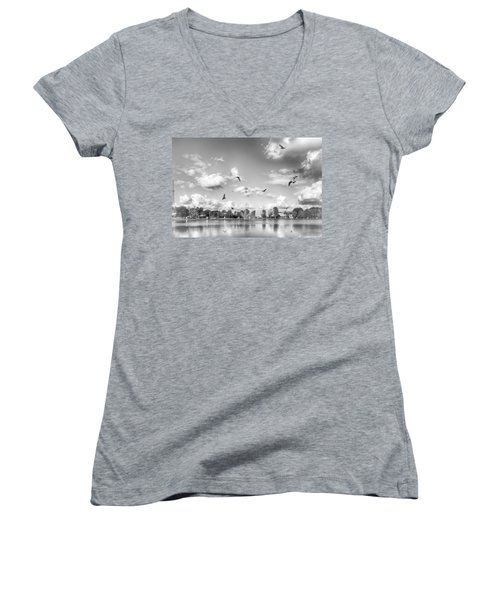 Women's V-Neck featuring the photograph Seagulls by Howard Salmon