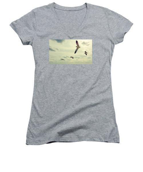 Seagulls In Flight Women's V-Neck T-Shirt