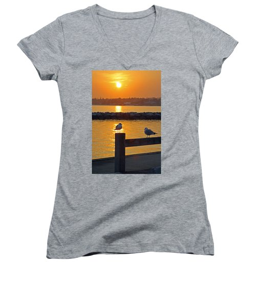 Seaguls At Sunset Women's V-Neck