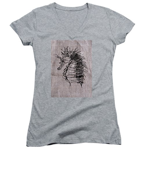 Seahorse On Burlap Women's V-Neck