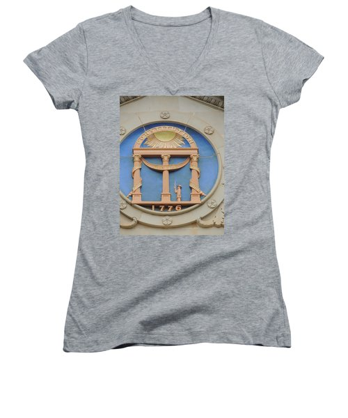Women's V-Neck T-Shirt (Junior Cut) featuring the photograph seal of Georgia by Aaron Martens