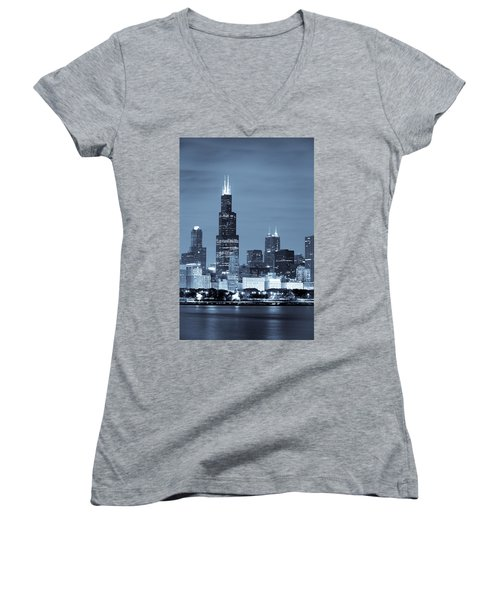 Women's V-Neck T-Shirt featuring the photograph Sears Tower In Blue by Sebastian Musial